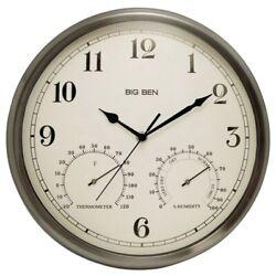 Westclox 12 Indoor/Outdoor Clock with Temperature & Humidity Gauges  (49832)