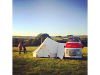 Two Door Frontier Bell tent with connection piece for campervan.