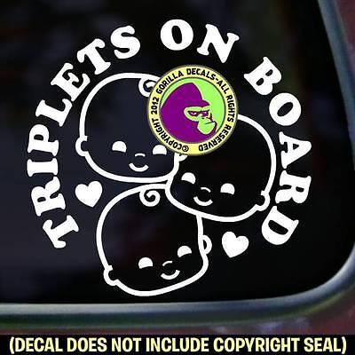 TRIPLETS ON BOARD Vinyl Decal Sticker Babies Multiples Bumper Car Window Sign
