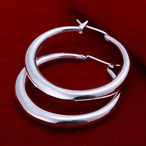 hot! wholesale sterling solid silver fashion circle hoop earrings +box LFSE020