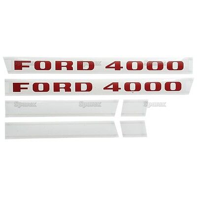 New Ford 4000 Diesel Hood Decal Set Red Letters