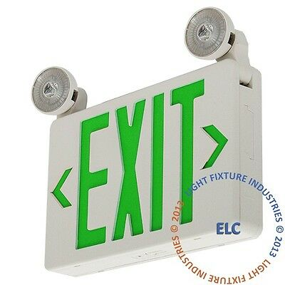 Led Exit Sign Emergency Light Green Compact Combo Fire Safety Ul924 Combocg