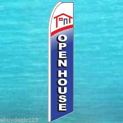 Open House Blue Flutter Feather Flag Real Estate Swooper Advertising Sign Banner