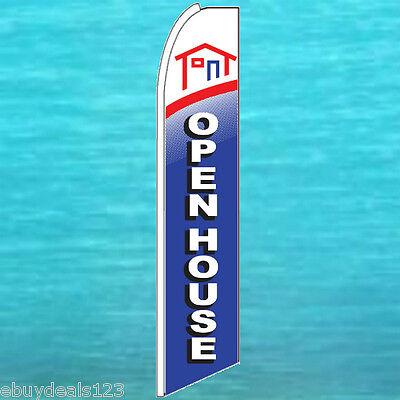 Open House Blue Flutter Feather Flag Real Estate Swooper Advertising Sign Banner