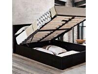 💎💎MODERN DESIGN💎💎BRAND NEW DOUBLE OTTOMAN STORAGE BED FRAME ( BLACK,BROWN & WHITE )