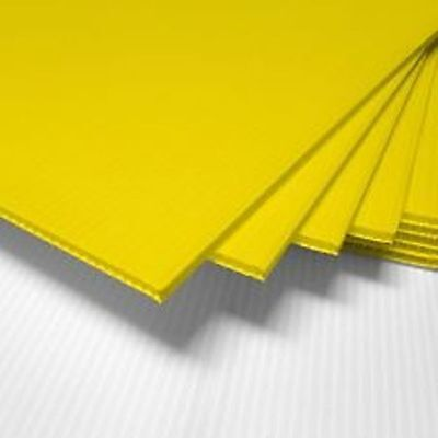 5 Pack Yellow Corrugated Blank Sign Sheet 4mm X 12 X 12 - Vertical