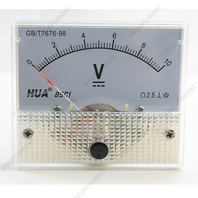 1 Dc 10v Analog Panel Volt Voltage Meter Voltmeter Gauge 85c1 White 0-10v Dc