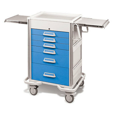 Steel Procedure Cart 6 Aluminum Drawers Key Lock 44.25h Crash Cart Blue