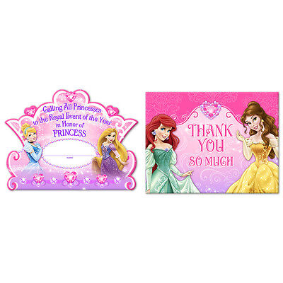 - Disney Princess  Birthday Party Supplies Invitations and Thank You Cards