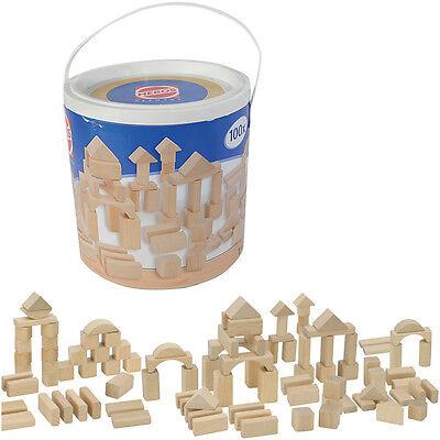 Heros Eimer mit 100 Natur Holzbausteinen Bausteine Holzklötze Bauklötze