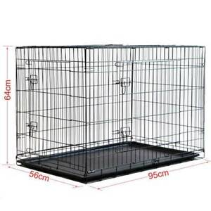 "36"" Large Cat Dog Puppy Pet Cage Kennel Collapsible Metal Crate T"