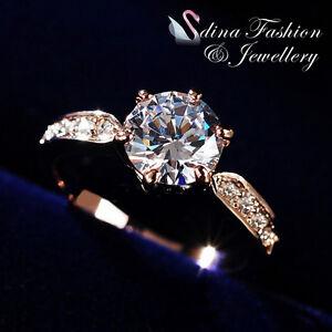 18Ct-Rose-Gold-GP-Swarovski-Diamond-2-0-Carat-Side-Stone-Engagement-Wedding-Ring