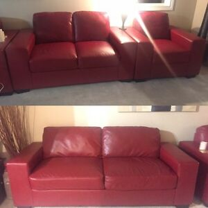 Red Faux leather couch, loveseat, chair  Regina Regina Area image 1