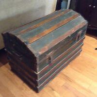 Antique barrel-top steamer trunk