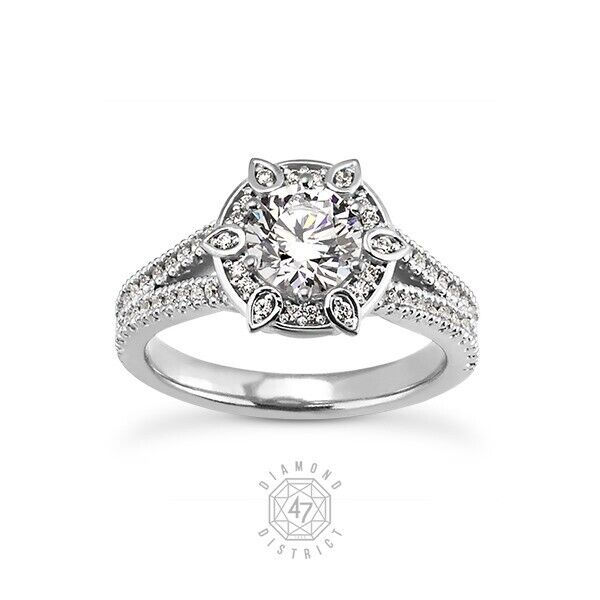 0.89ct Tw F-si1 Round Natural Certified Diamonds 18k Gold Halo Sidestone Ring