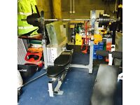 Powertec Olympic barbell bench station with 7ft Olympic bar and 80kg of weights and ab bench