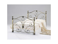 NEW 4ft 6 Diane Double Antique Brass Bed incl. Quality Memory Foam Orthopedic Mattress Retails £399