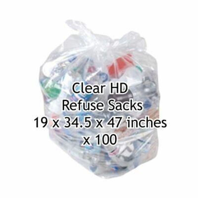 200 x Clear Ld Refuse Sacks 19X34.5X47