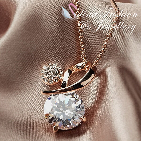 18K Rose Gold Plated Simulated Diamond 9.5 Carat Round Cut Sparkling Necklace
