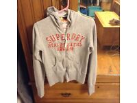 Superdry grey zip up hoodie 8-10