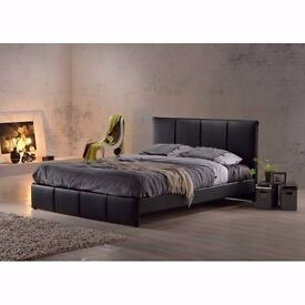 "CLASSIC SALE == ITALIAN LEATHER DOUBLE BED WITH 10"" THICK DUAL SIDED FULL ORTHOPEDIC MATTRESS"