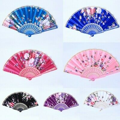 Chinese Flower Silk Lace Folding Hand Held Fan Wedding Dancing Party Prom US