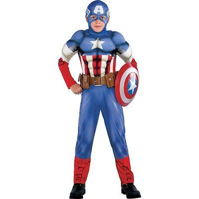 Marvel Captain America Boys Muscle Costume Classic Large 12-14 Superhero ()