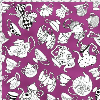 Loralie Tea Party Fabric Alice in Wonderland Purple Quilting Cotton FQ BTHY BTY Alice Tea Party