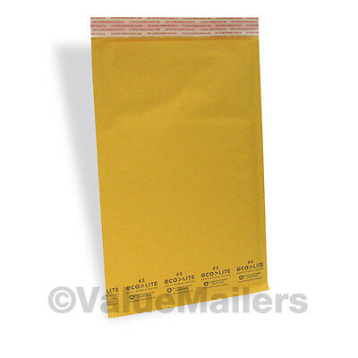 100 3 8.5x14.5 Kraft Ecolite Bubble Mailers Padded Envelopes