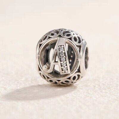 Authentic Pandora Sterling Silver Vintage A Clear Charm 791845#