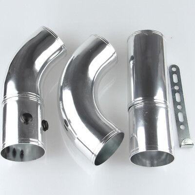 Set  3 Air Filter Turbo Intake Intercooler Pipe Hose Aluminium silver Popular