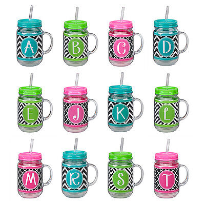 Straw Jar (Monogram Acrylic MASON JAR STRAW TRAVEL CUP, 20 oz, Choose Your)
