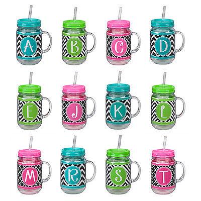 Monogram Acrylic MASON JAR STRAW TRAVEL CUP, 20 oz, Choose Y