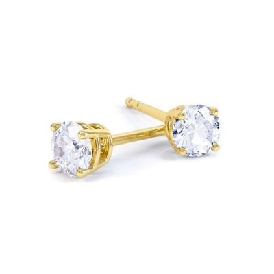 1ct (5.0mm) 9K Yellow Gold VS/FG GENUINE Round Moissanite Diamond Stud Earrings
