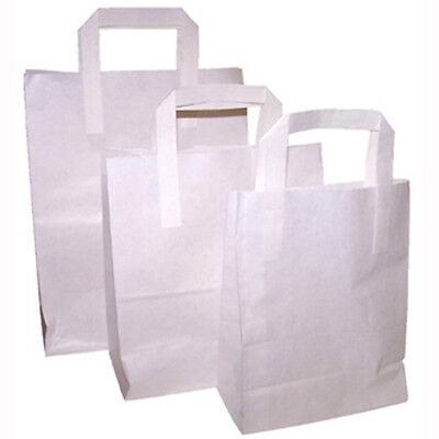 750 x White SOS Paper Handle Food Sandwich Takeaway Bags Small Medium Large
