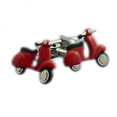 RED Scooter Cufflinks Mods Moped Rider Bike Cruise Party Formal Present Gift Box (Red Rider Scooter)