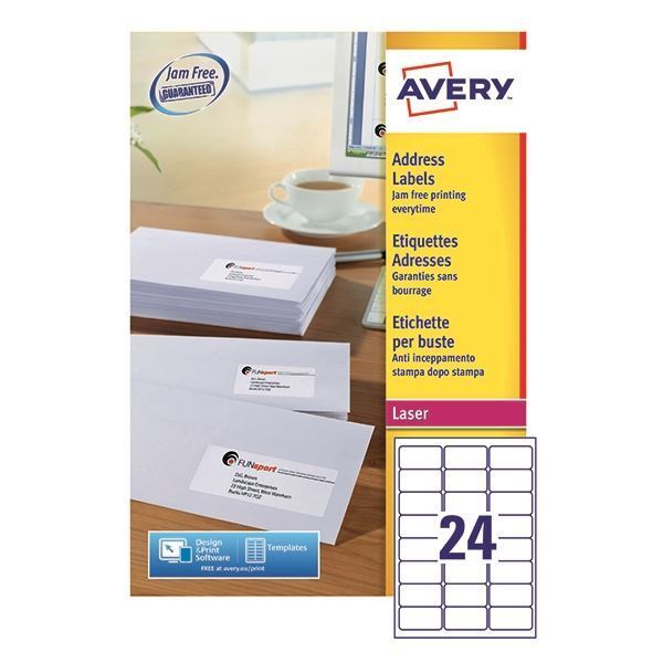 Avery Quickpeel Laser Address Labels 64x33.86mm 24 Per Sheet  [AVL7159]