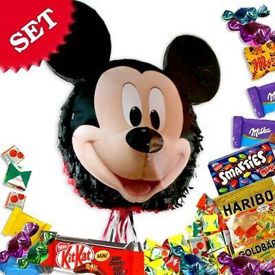 Mickey Maus-Pullpinata/Zugpinata im Set +Süßigkeitenfüllung f. Spiele Geburtstag (Mickey Pinata)