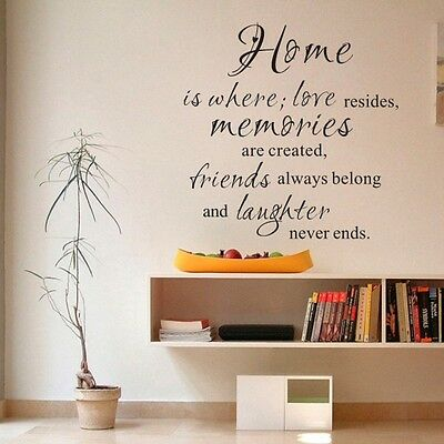 Motivation Wall Decal Home Is Where Family Friend Love Vinyl Quote Bedroom Decor
