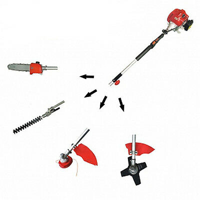 4 in 1 Chainsaw,Hedge Trimmer,Grass Edger,Weed Wacker 33CC 2 Cycle Gas 7ft Long