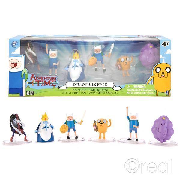 "New Adventure Time Deluxe 6 Action Figure Pack 2"" Finn Jake Marceline Official"
