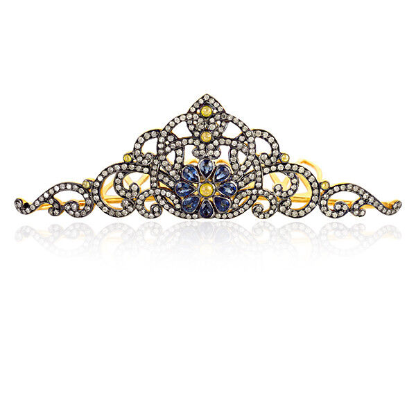Blue Sapphire Crown Hair Brooch 925 Sterling Silver Pave Diamond Women