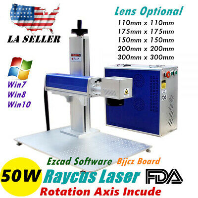 Usa Fda 50w Split Fiber Laser Marking Engraving Engraver Machine Rotary Axis