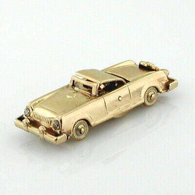 14K Gold Classic 1956 Continental Mark II Roadster Convertible Car Vintage Charm 14k Gold Charm Car