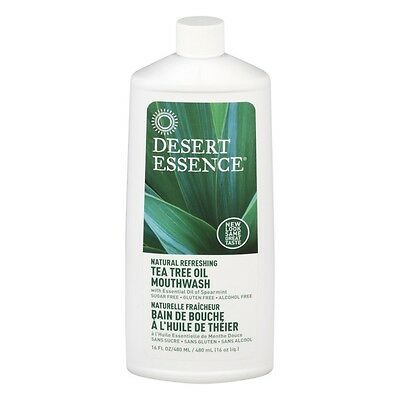Desert Essence Natural Refreshing Tea Tree Oil Mouthwash Spearmint Oil 16 oz