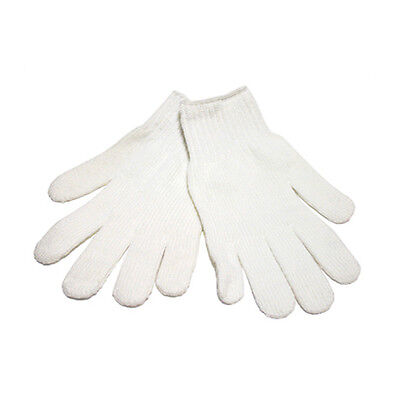 48 Pairs Bleached White Cotton String Knit Gloves (600G)- Size Large