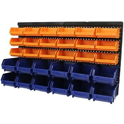 Large 30pce Storage Bin/Tub Kit Wall Mount Garage/Warehouse Tool/Bins/Rack Board