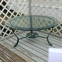 Decorative Round Patio Table with Bevelled Glass Top