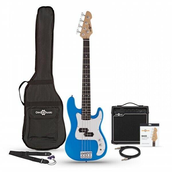 3/4 LA Bass Guitar + 15W Amp Pack Blue