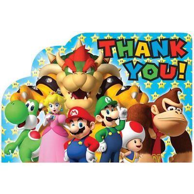 8 Super Mario Bros & Freunde Kinder Dankeskarten Party Zubehör ()